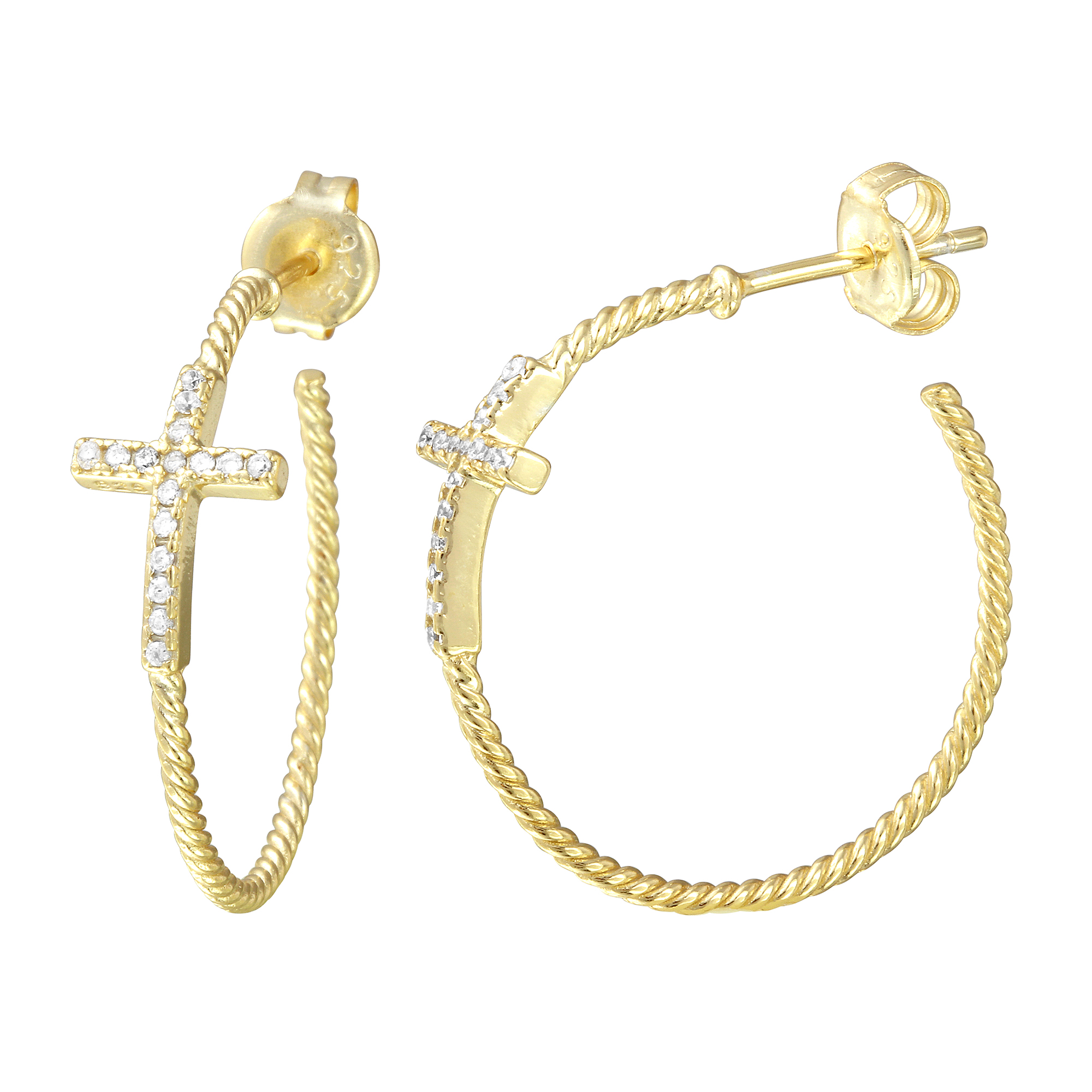 beamon earrings lyst jewelry women metallic hoop s gold crystal erickson plated in
